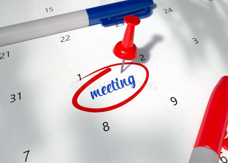 红色Pin的概念图象在日历的与词提醒的会议为重要任命 3D回报会议的例证 皇族释放例证