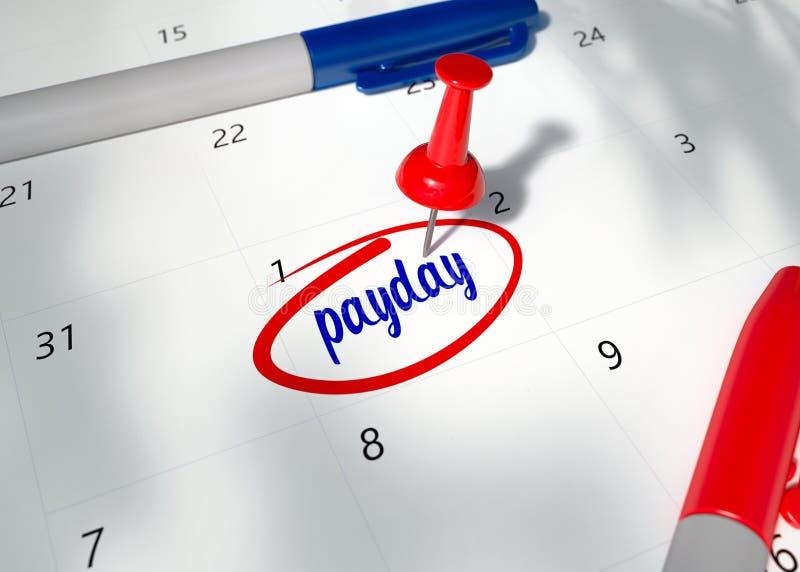 红色Pin的概念图象在日历的与词提醒的发薪日为重要任命 库存例证