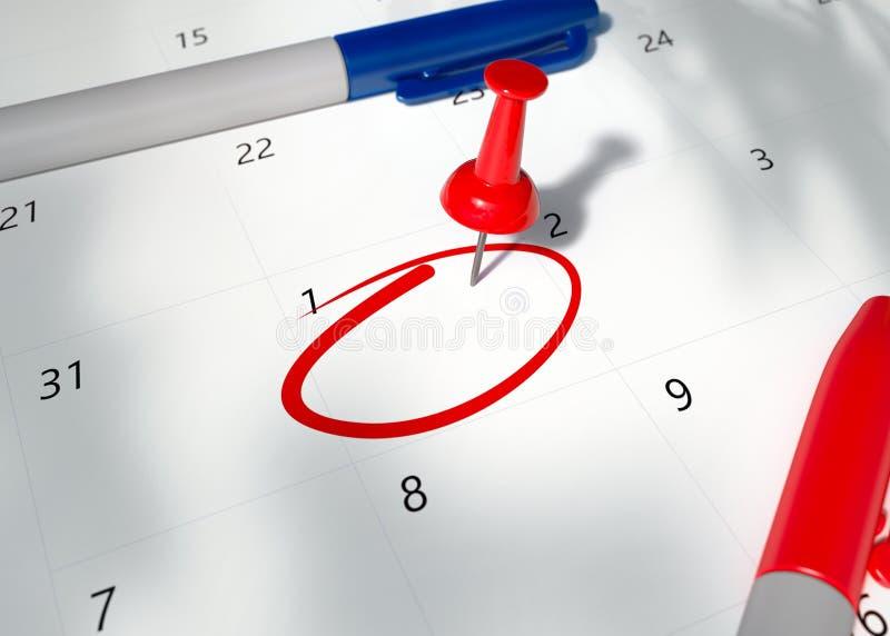红色Pin的概念图象在日历的以提醒的空的cirlced空间为重要任命 库存例证