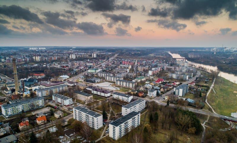约纳瓦市,立陶宛 空中全景照片 图库摄影
