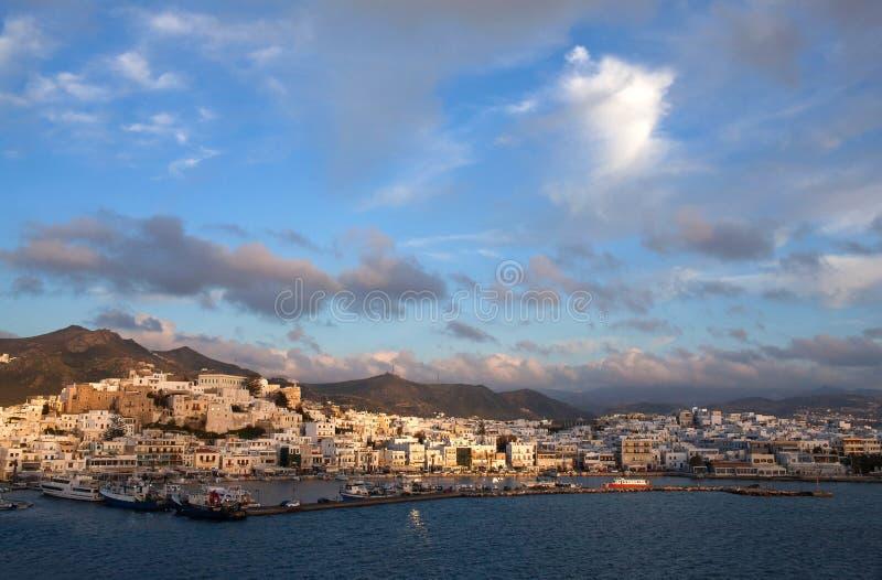 纳克索斯岛,基克拉泽斯,希腊口岸  库存图片