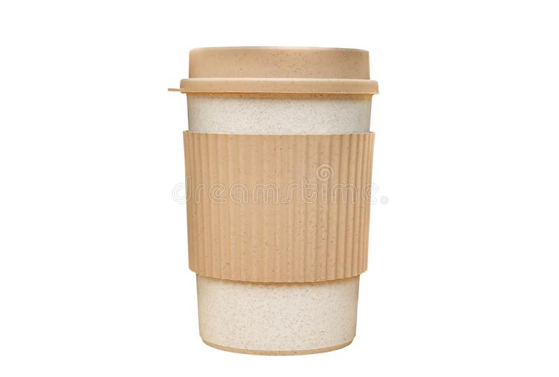 纸杯与在白色背景隔绝的裁减路线的外带的咖啡 免版税库存照片