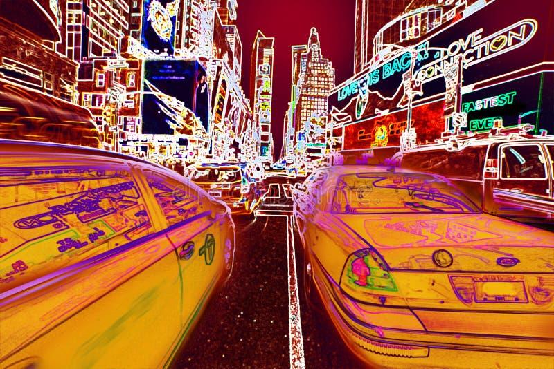 纽约时间广场黄色出租汽车霓虹灯小故障背景 免版税库存照片