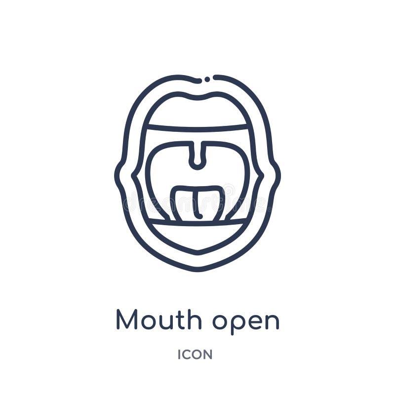 线性从人体零件概述汇集的嘴开放象 稀薄的线在白色背景隔绝的嘴开放象 嘴 向量例证