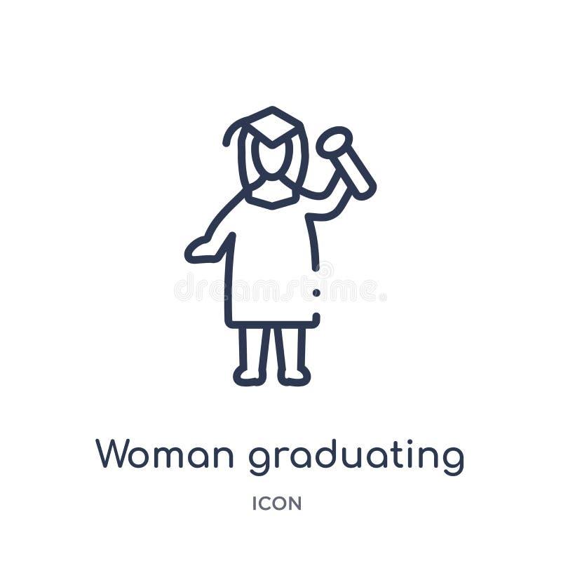 线性从夫人概述汇集的妇女毕业的象 稀薄的线在白色背景隔绝的妇女毕业的象 妇女 皇族释放例证