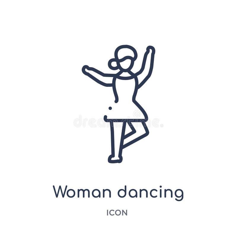 线性从夫人概述汇集的妇女跳舞的芭蕾象 稀薄的线在白色背景隔绝的妇女跳舞的芭蕾象 皇族释放例证