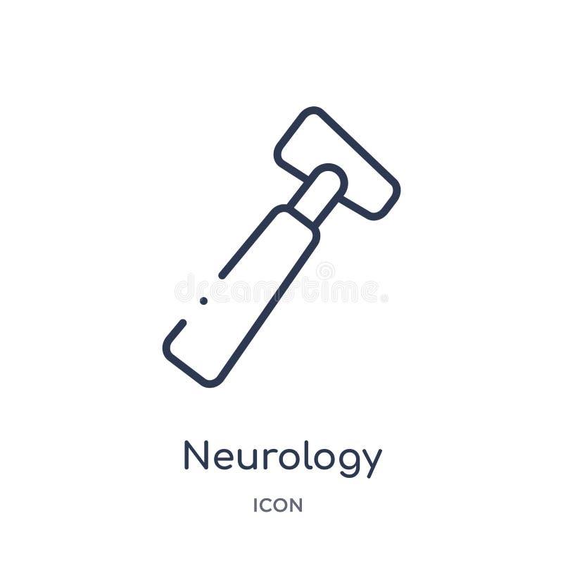 线性从医疗概述收藏的神经学反射锤子象 稀薄的线在白色隔绝的神经学反射锤子象 库存例证