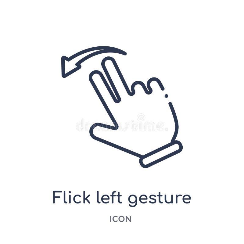 线性从手和guestures概述汇集的轻打左姿态象 稀薄的线轻打在白色留下姿态象被隔绝 库存例证