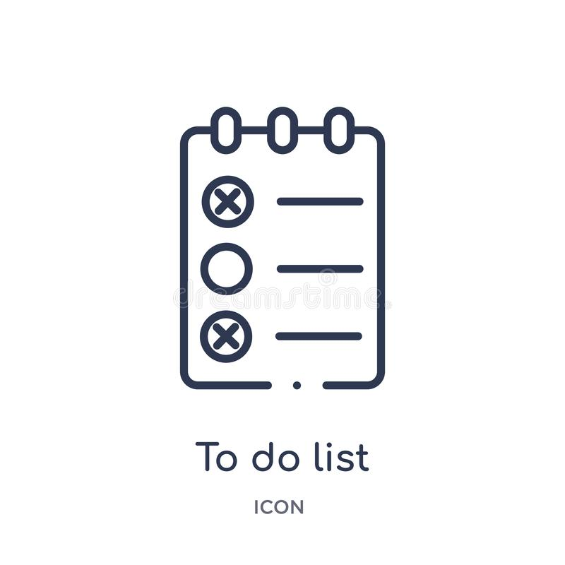 线性做从健身房和健身概述汇集的名单象 要做名单象的稀薄的线隔绝在白色背景 执行列表 库存例证