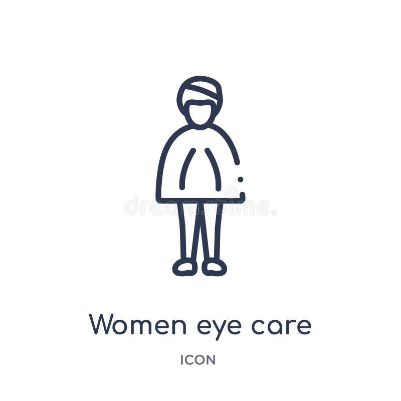 线性妇女注视从夫人概述汇集的关心象 稀薄的线妇女注视在白色背景隔绝的关心象 装饰性的眼睛眼线膏做铅笔用工具加工白人妇女 库存例证