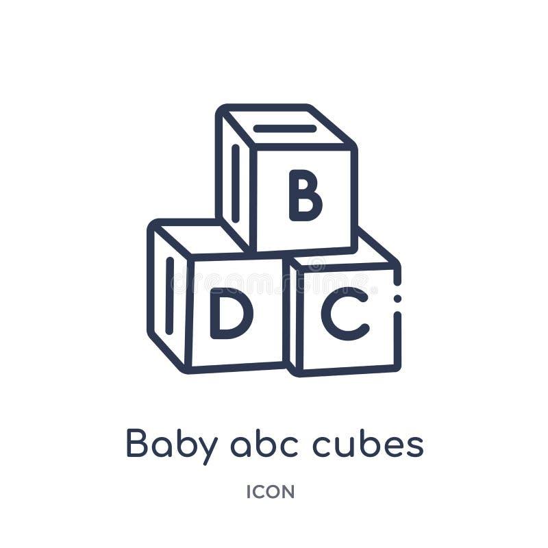 线性婴孩abc求从教育概述汇集的象的立方 稀薄的线婴孩abc求在白色背景隔绝的象的立方 婴孩abc 库存例证