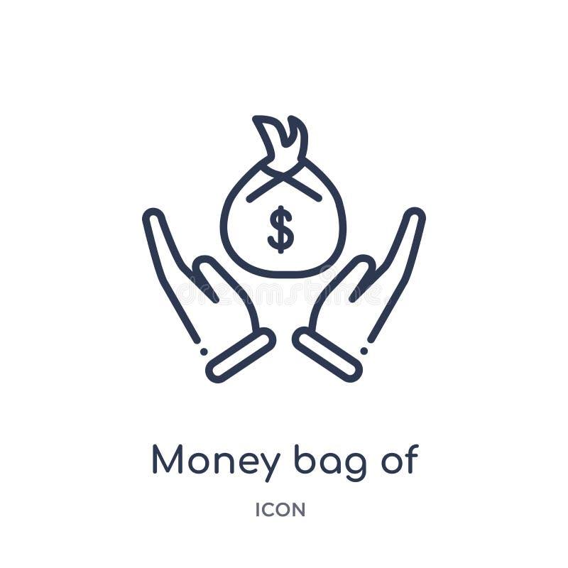 线性金钱袋子从姿态概述汇集的美元象 稀薄的线在白色隔绝的美元象金钱袋子 皇族释放例证