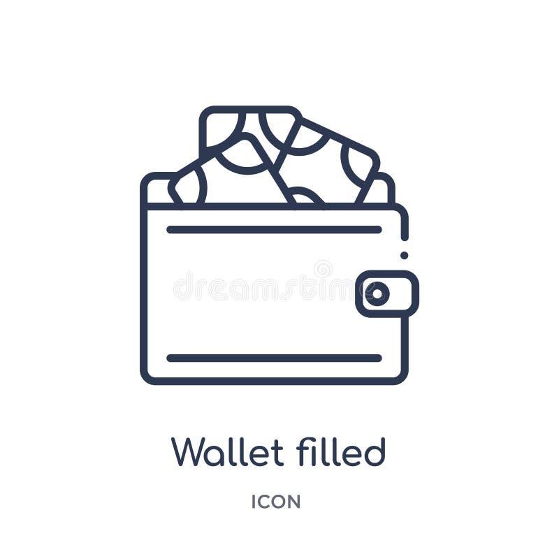 线性钱包从商务概述汇集的被填装的金钱工具象 稀薄的线钱包填装了金钱在白色隔绝的工具象 皇族释放例证
