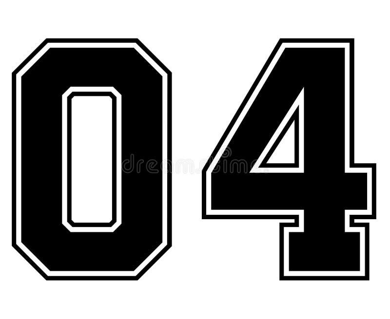 04经典之作葡萄酒体育在黑数字的泽西数字在美式足球、棒球或者篮球的白色背景 向量例证