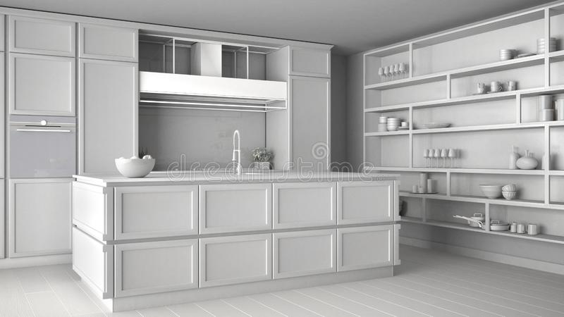经典厨房总白色项目现代露天场所的与镶花地板、海岛和辅助部件,最低纲领派当代 库存例证