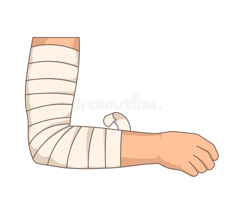 绷带包扎有弹性磁带的肘伤胳膊 向量例证