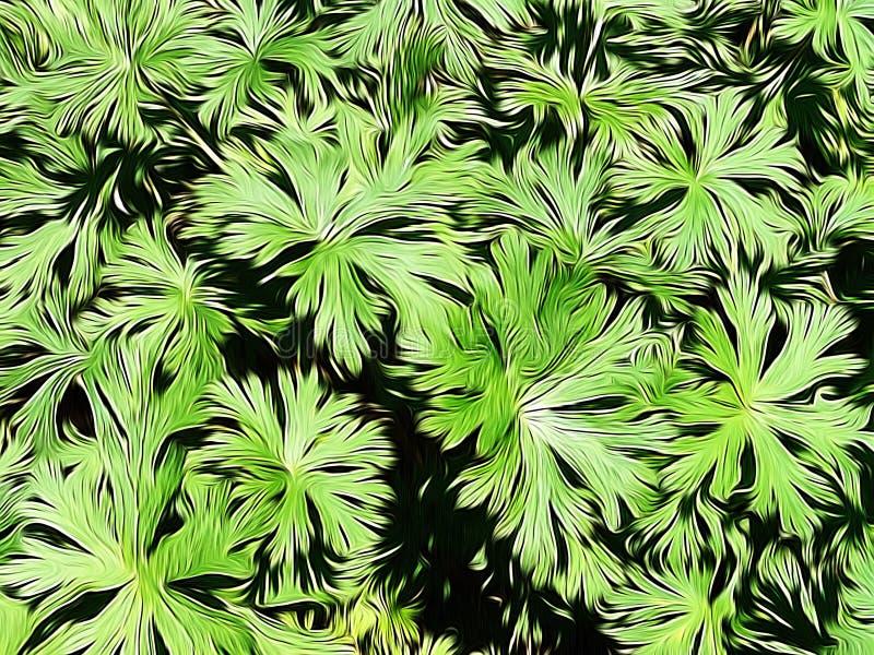 绿色叶茂盛植物照片编辑与油漆刷应用 免版税库存图片