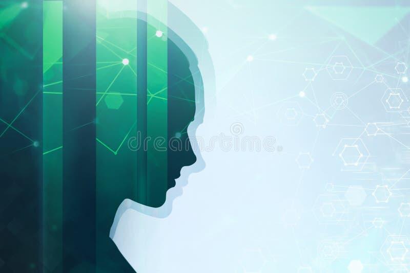 绿色妇女顶头剪影,网络 皇族释放例证