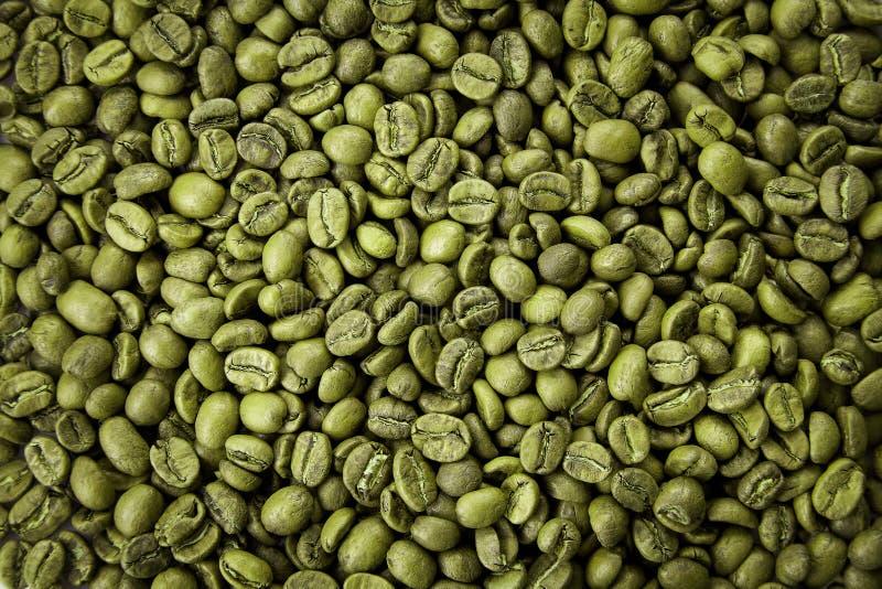 绿色咖啡豆纹理 关闭看法,顶视图 库存图片
