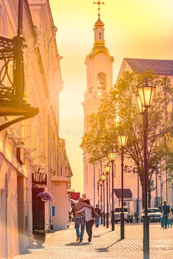 维帖布斯克,白俄罗斯,欧洲老街道  免版税库存照片