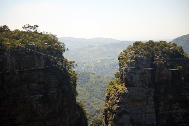 缆绳和船锚缆绳看法在一部分的ORIBI峡谷 图库摄影