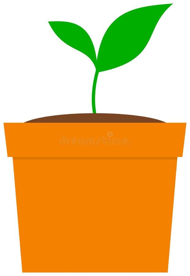 罐的增长的植物 库存例证