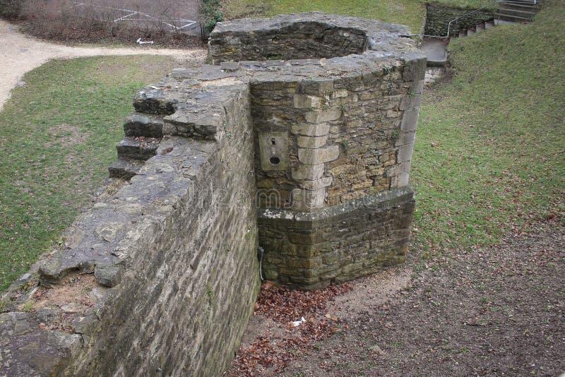 罗马堡垒墙壁在雷根斯堡,德国 图库摄影
