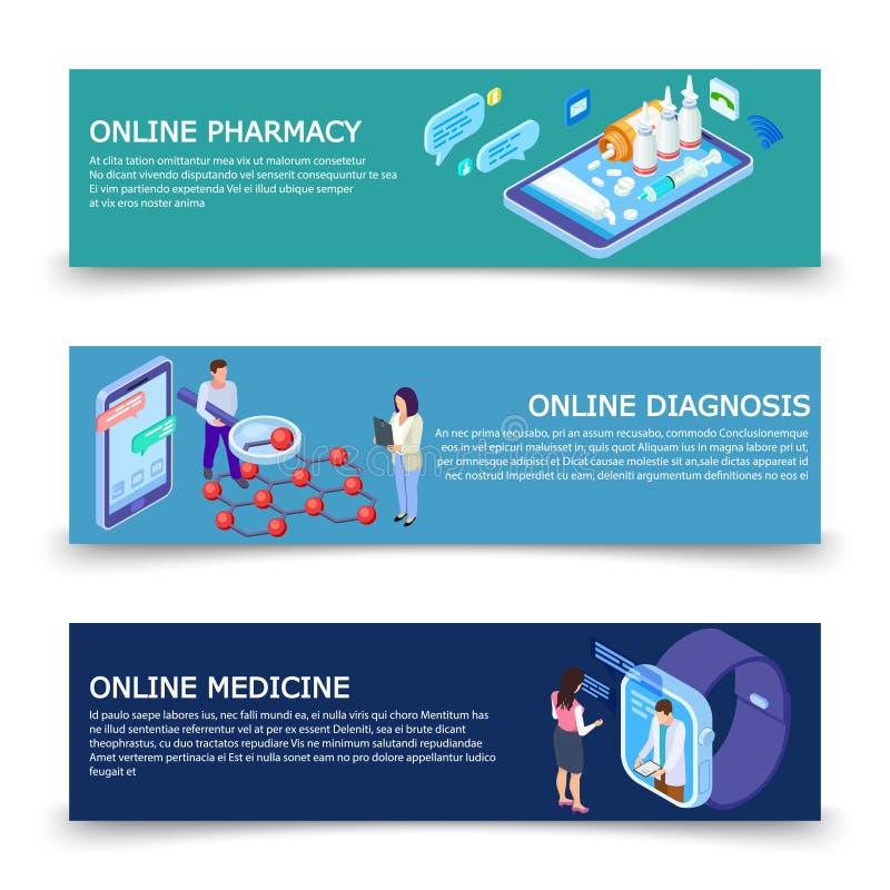 网上医学服务横幅导航与等量概念的模板 库存例证