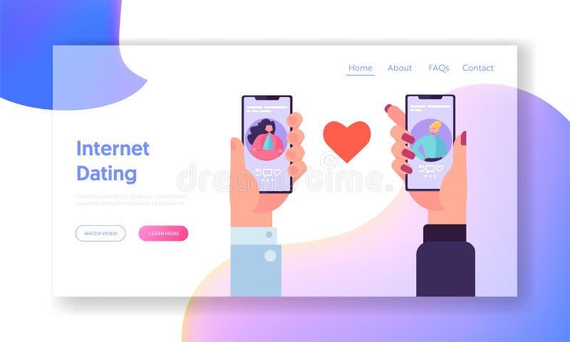 网上约会的应用概念着陆页 男性和女性聊天在人脉 手藏品智能手机网站 向量例证