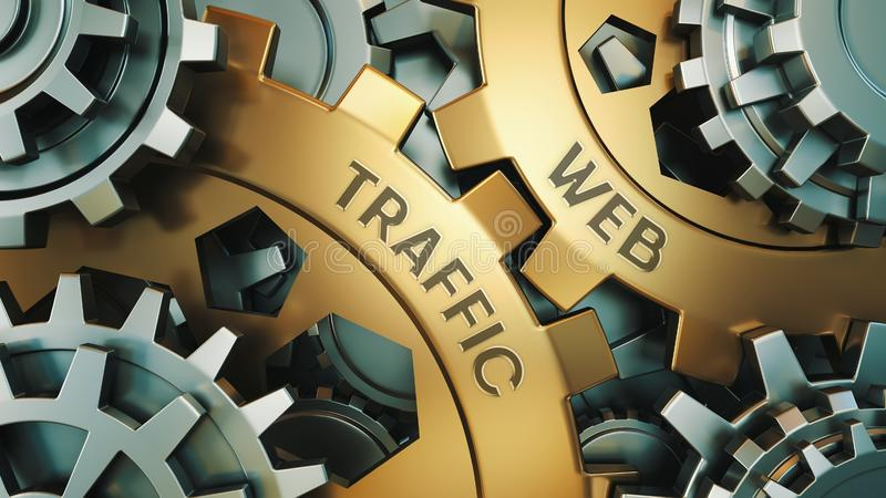 网交通-概念 在金黄钝齿轮的题字 在背景中是时钟或引擎机制 3d例证 库存例证