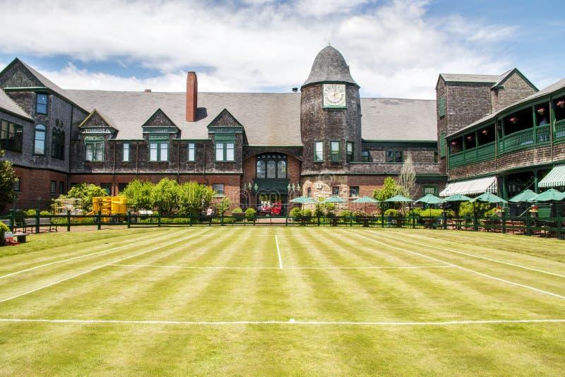 网球的光荣榜网球场在纽波特罗德岛 图库摄影