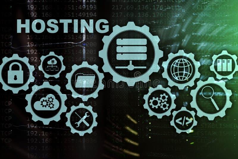 网络主持技术互联网和网络概念 在服务器室背景 Virual屏幕 库存例证