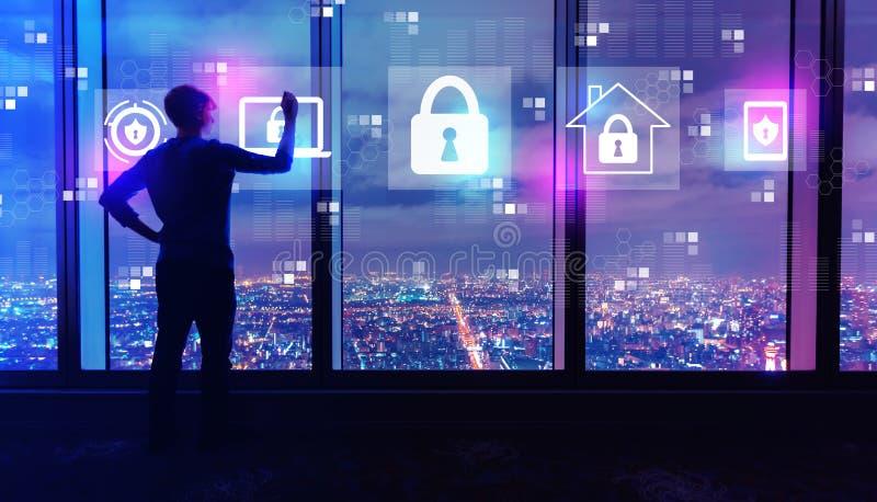 网络安全以由大窗口的人在晚上 皇族释放例证