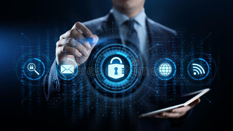 网络安全数据保护信息保密性互联网技术概念 皇族释放例证