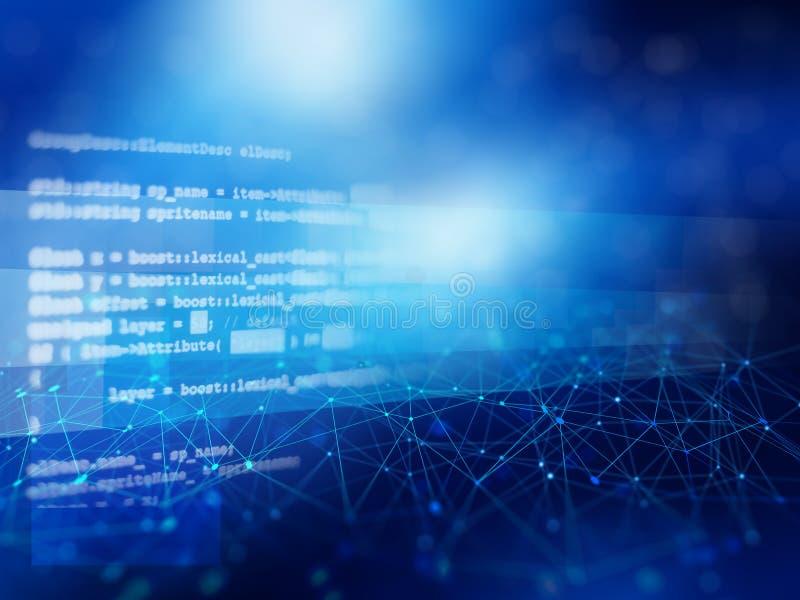 网络连接蓝色抽象背景  库存例证