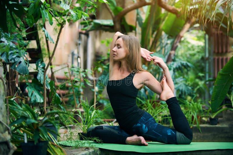 美丽的年轻女人实践瑜伽asana Pigeon国王姿势rajakapotasana在密林 晴朗的日 库存照片