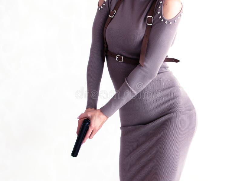 美丽的枪妇女 图库摄影
