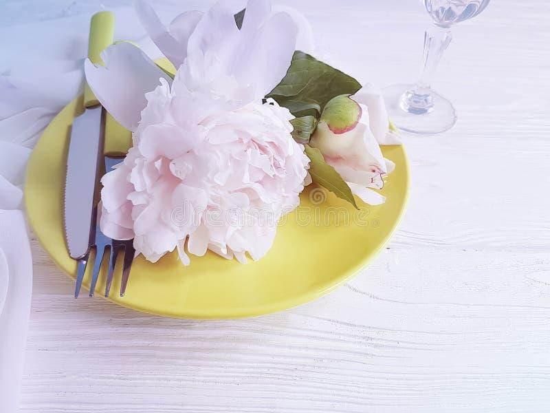 美丽的花牡丹,在白色木背景的板材 免版税库存图片