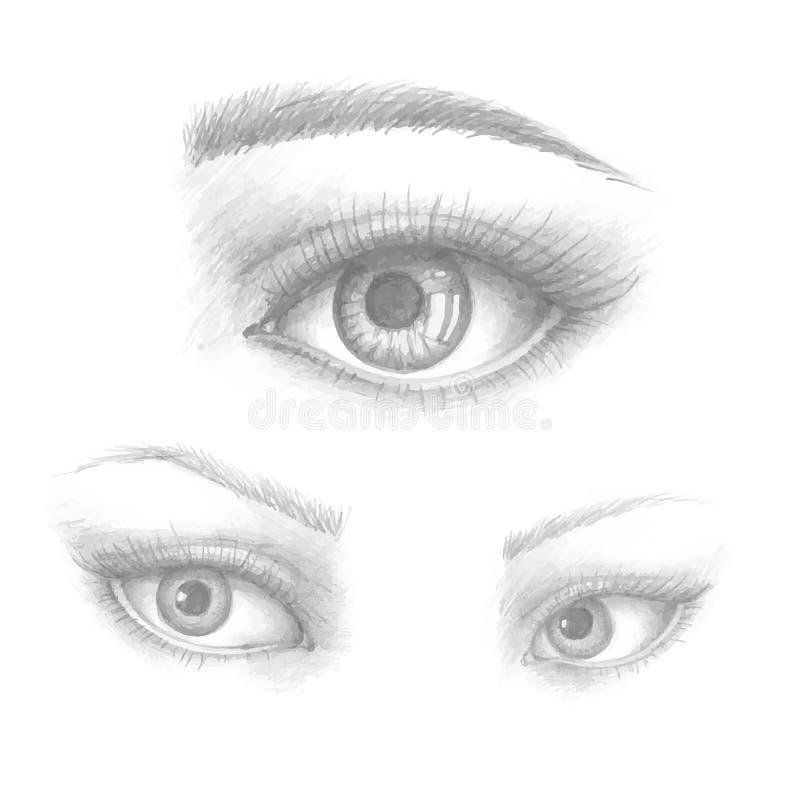 美女眼睛导航墨水图画 例证 黑白色集合 向量例证