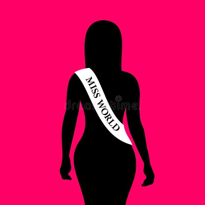 美女获得小姐世界奖和奖  向量例证