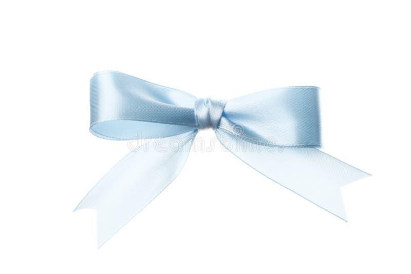 美好的在白色背景隔绝的假日蓝色弓 免版税库存图片