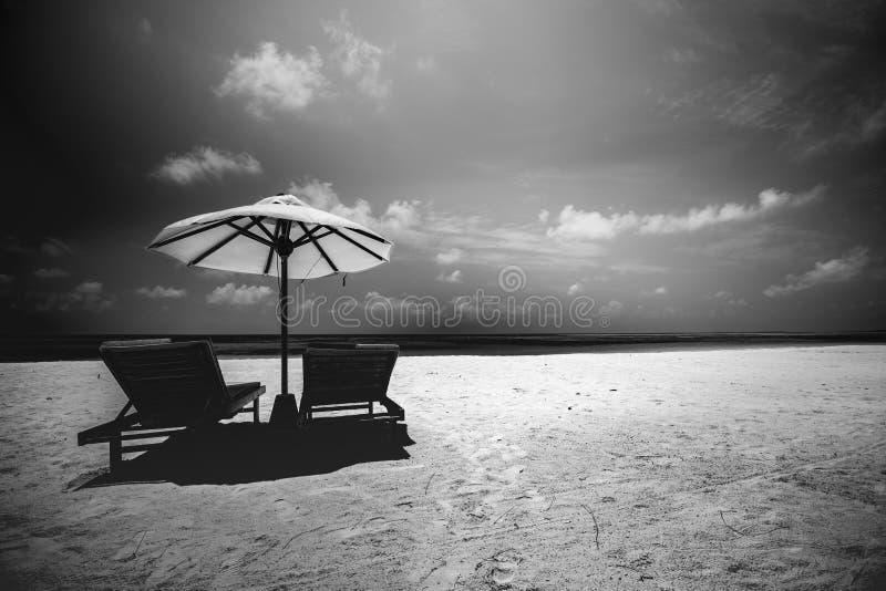 美好的剧烈的海滩风景、躺椅和伞,太阳射线,热带海滩风景 启发,想法,成功 免版税图库摄影