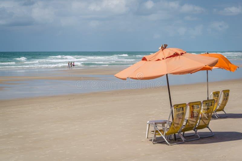美好的沙滩普腊亚做弗朗西丝,马塞约,阿拉戈斯,巴西 免版税库存图片