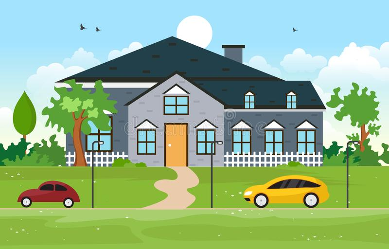美好的现代议院外部门面围场住宅例证 向量例证