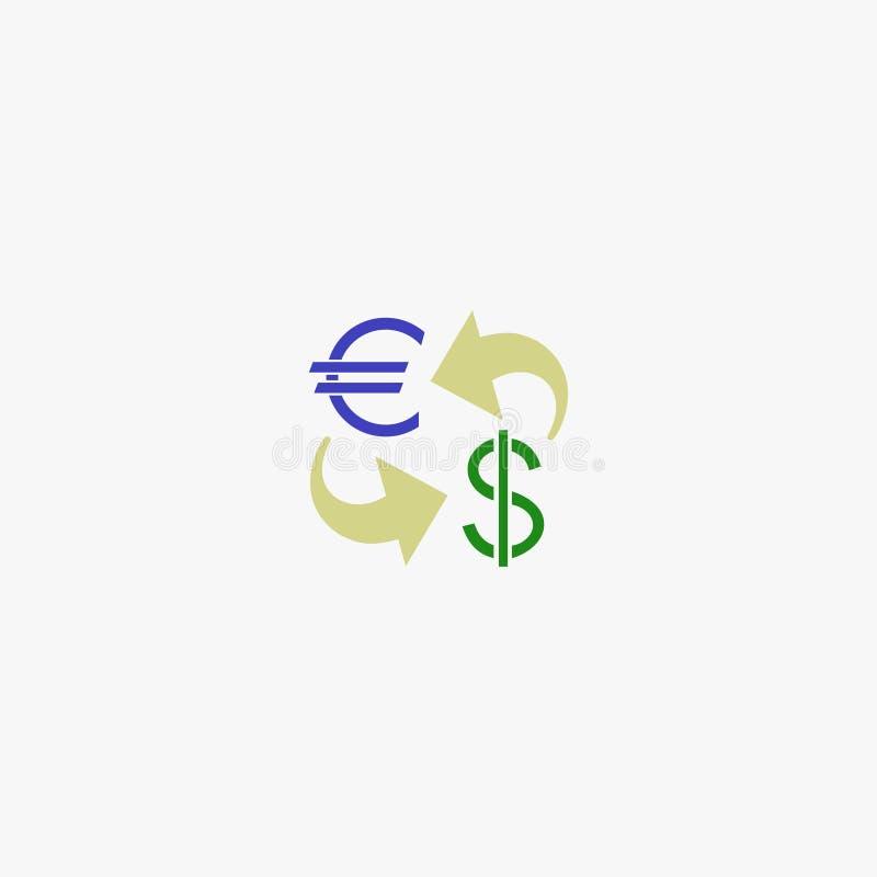 美元和欧元 货币 货币 也corel凹道例证向量 10 eps 库存例证