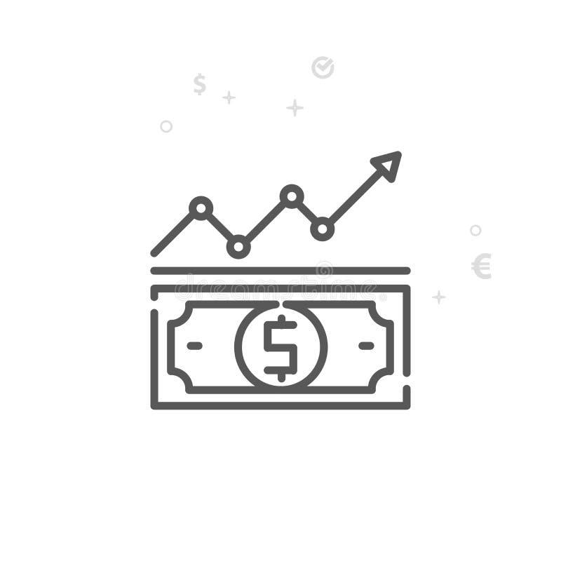 美元汇率传染媒介线象,标志,图表,标志 轻的抽象几何背景 编辑可能的冲程 库存例证