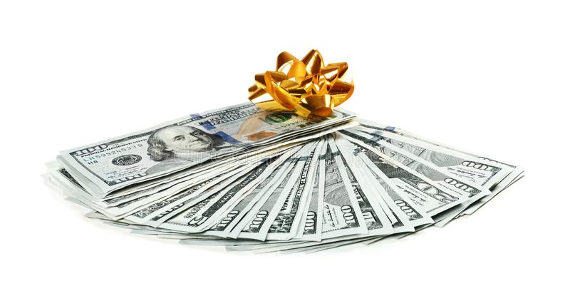 美元钞票爱好者与弓的在白色 库存照片