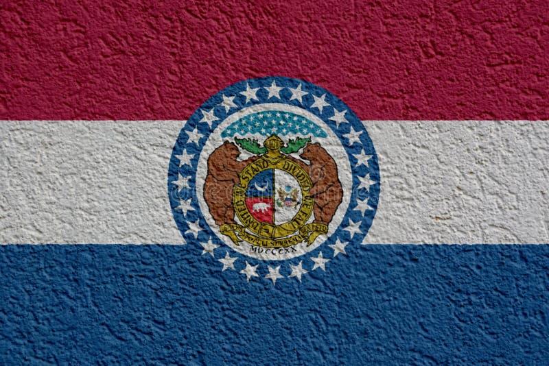 美国各州政治或企业概念:密苏里有膏药的,纹理旗子墙壁 免版税库存图片