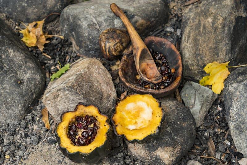 美国当地印度食物在普利茅斯种植园公园 免版税库存照片