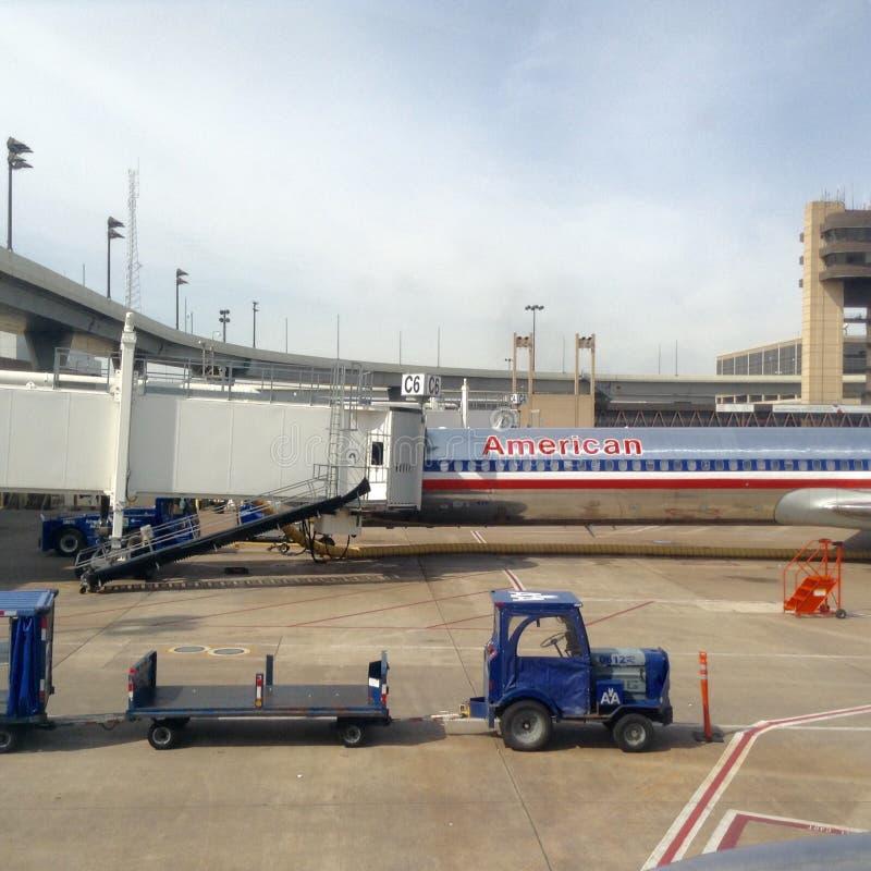 美国航空飞机和机场 库存照片